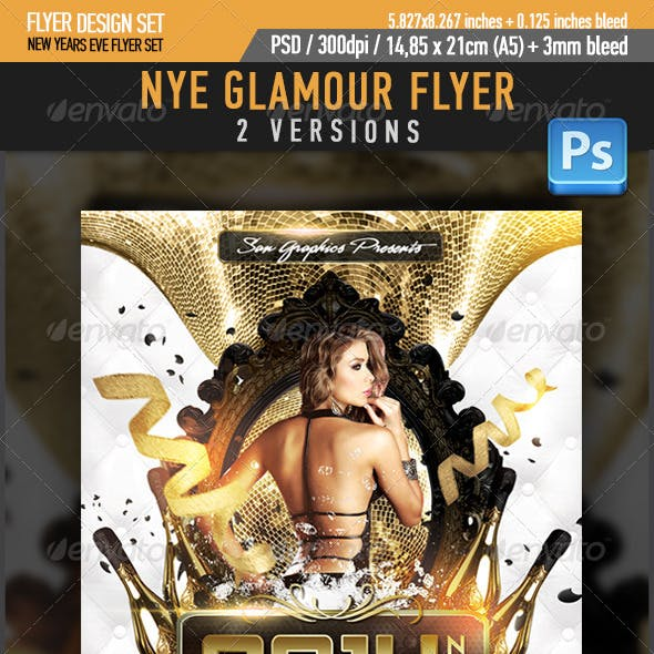 NYE Glamour New Year's Eve Party Flyer Template