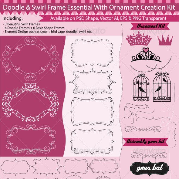 Doodle & Swirl Frame Creation Kit Design Elements
