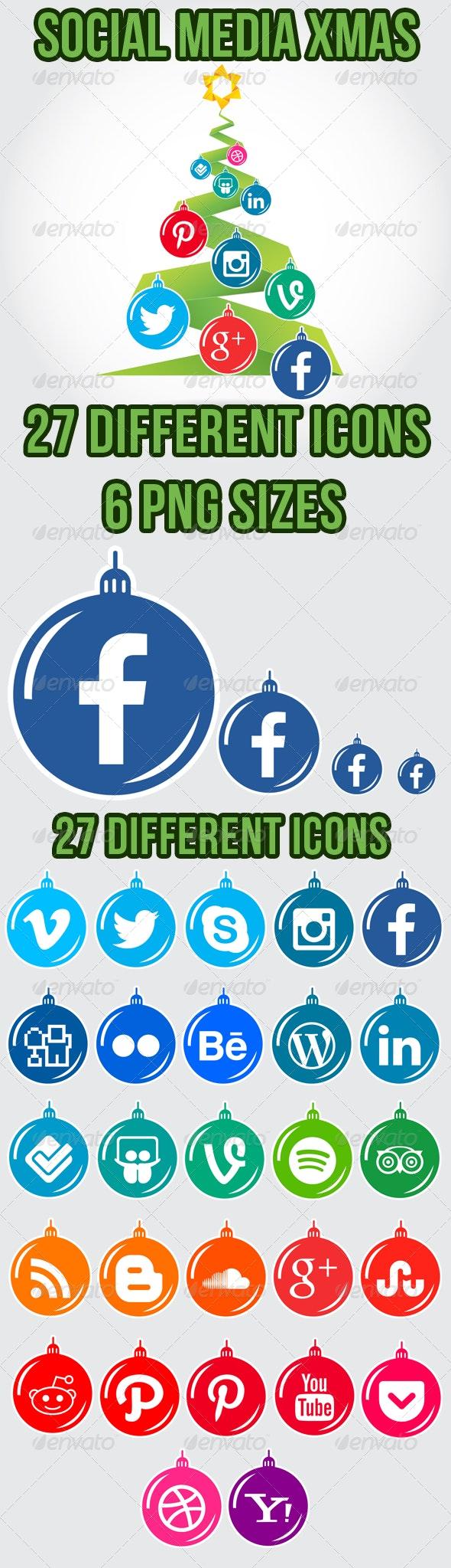 Christmas Social Media Icon Set - Seasonal Icons