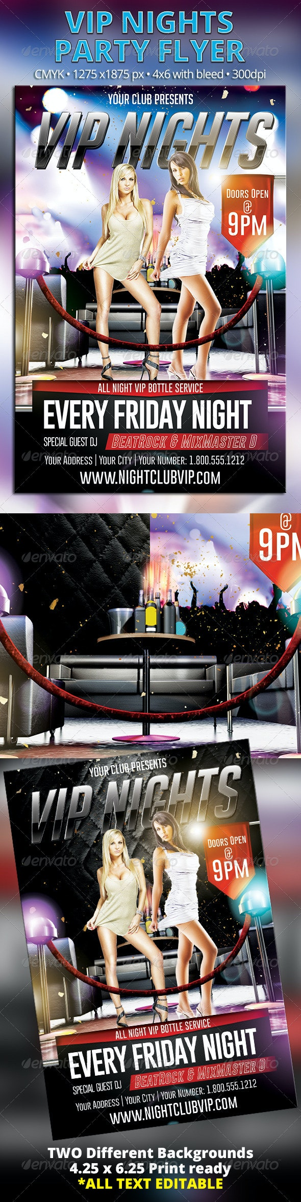 VIP Nights Party Flyer - Clubs & Parties Events