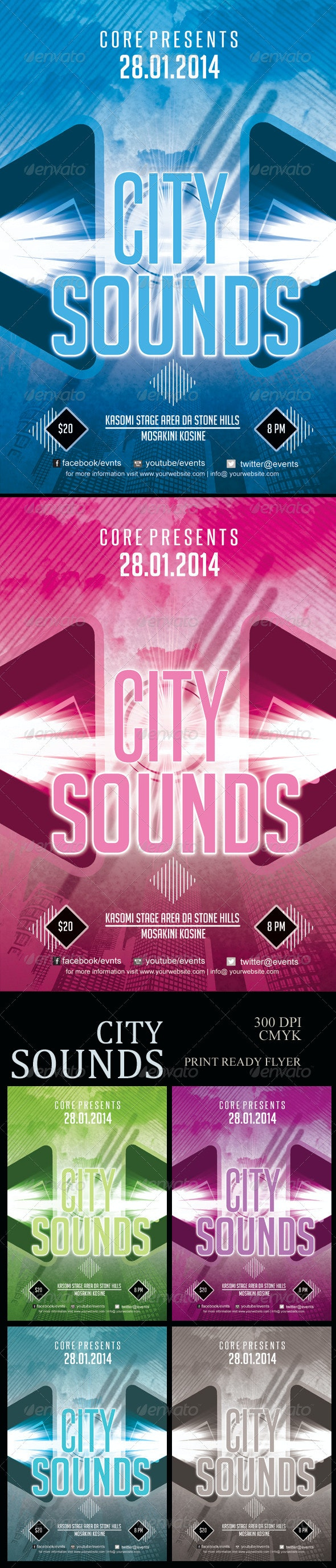 City Sounds Flyer - Clubs & Parties Events