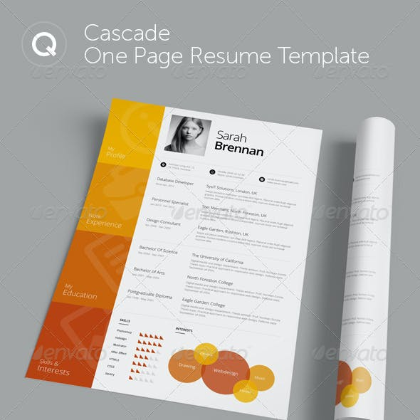 Cascade One Page Resume Template