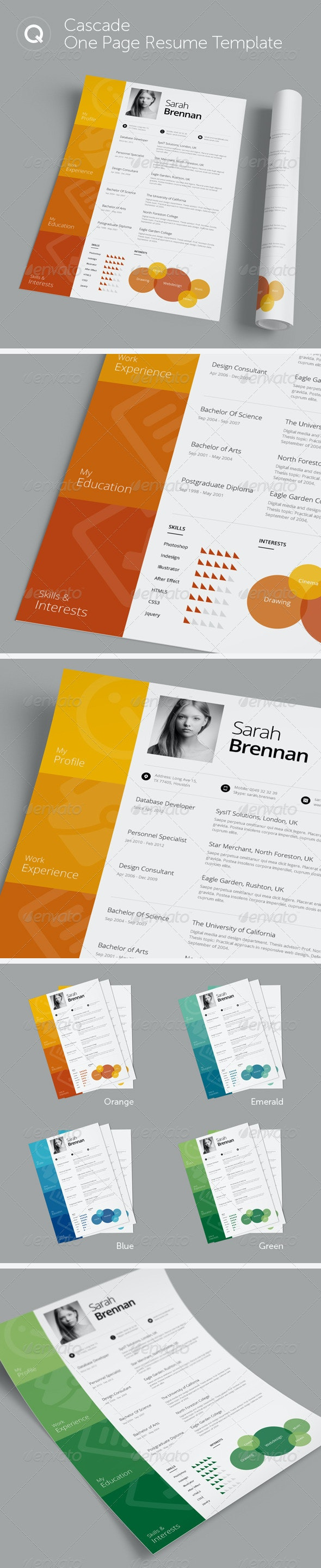 Cascade One Page Resume Template - Resumes Stationery
