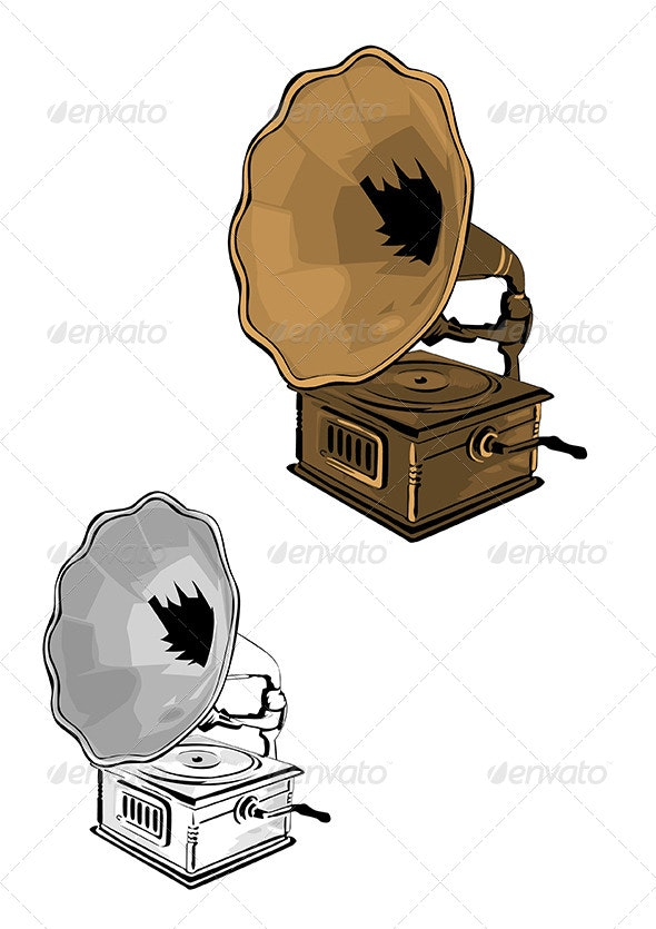 gramophone vector illustration by duke ellington graphicriver graphicriver