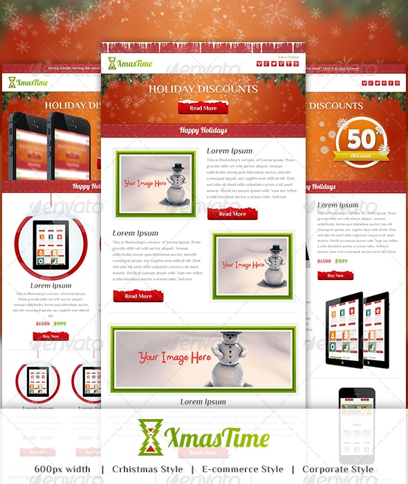 XmasTime - Holiday Business Email Template PSD - E-newsletters Web Elements
