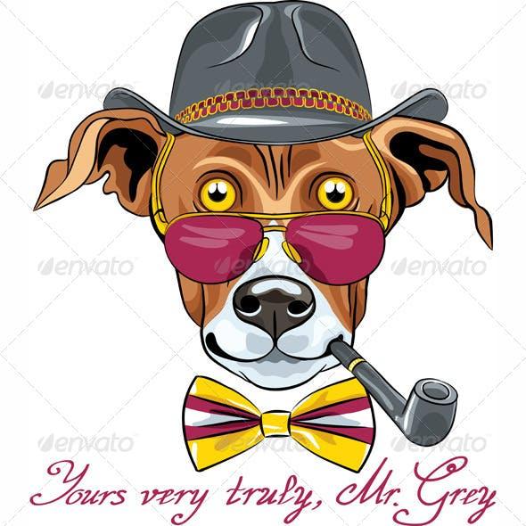 Cartoon Hipster Greyhound Dog Breed