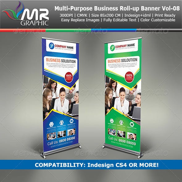 Multipurpose Business Roll-Up Banner Vol-08