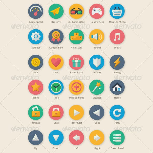 35 Cartoon Game UI Icons