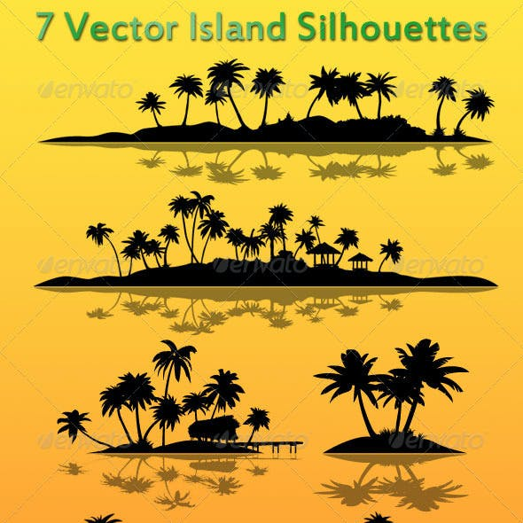 7 Vector Island Silhouettes