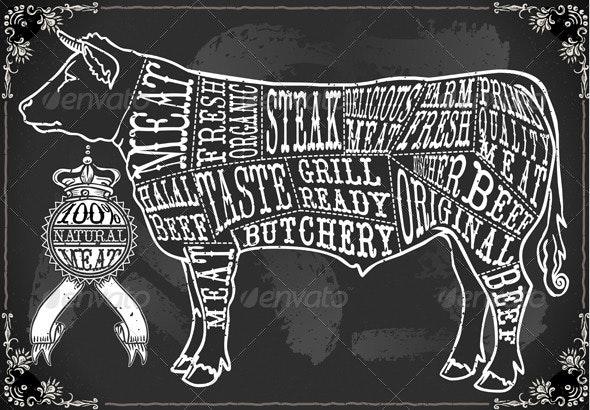 Vintage Blackboard Cut of Beef - Decorative Vectors