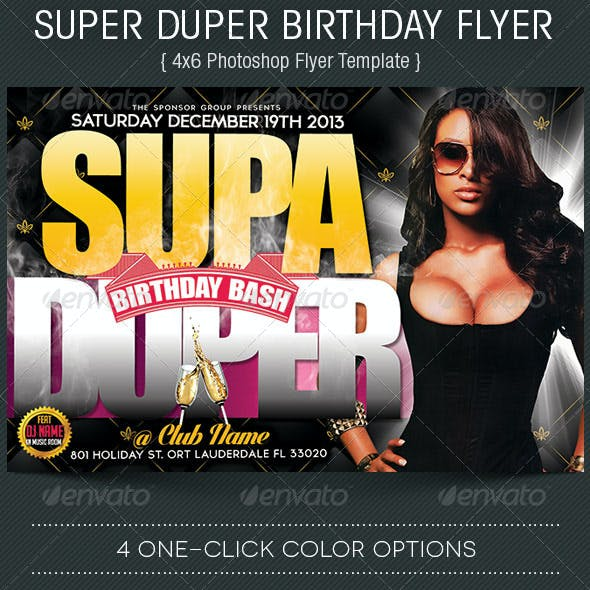 Super Duper Birthday Flyer