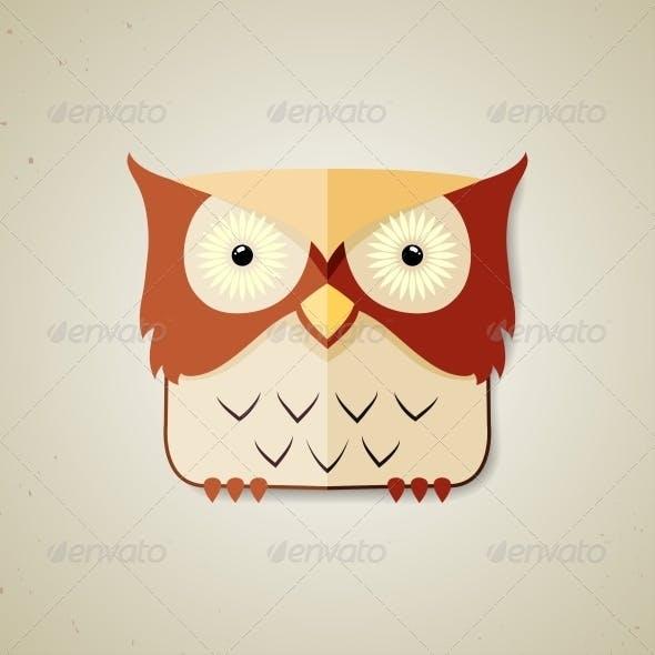 Little Brown and Light Yellow Cartoon Owl