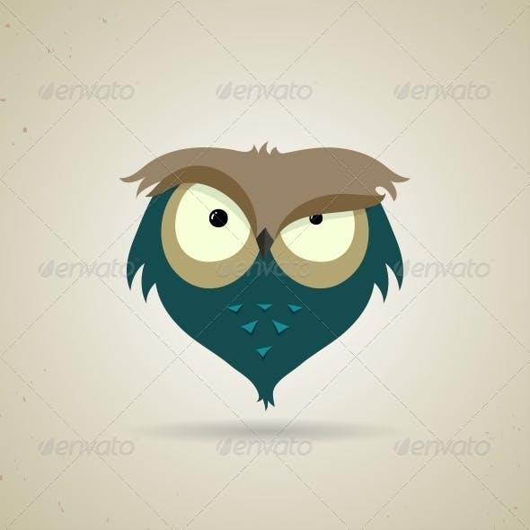 Little Blue and Grey Cartoon Owl