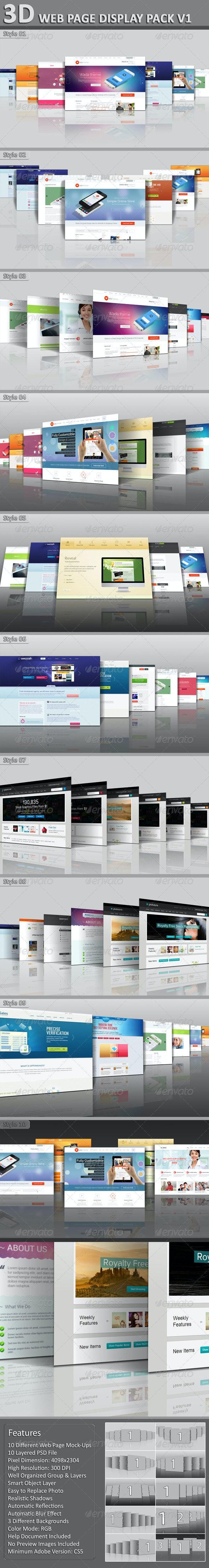 3D Web Page Display Pack V1 - Website Displays