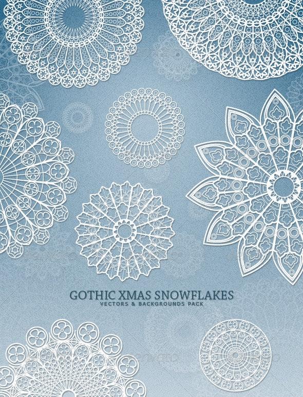 Gothic Xmas Snowflakes - Decorative Symbols Decorative