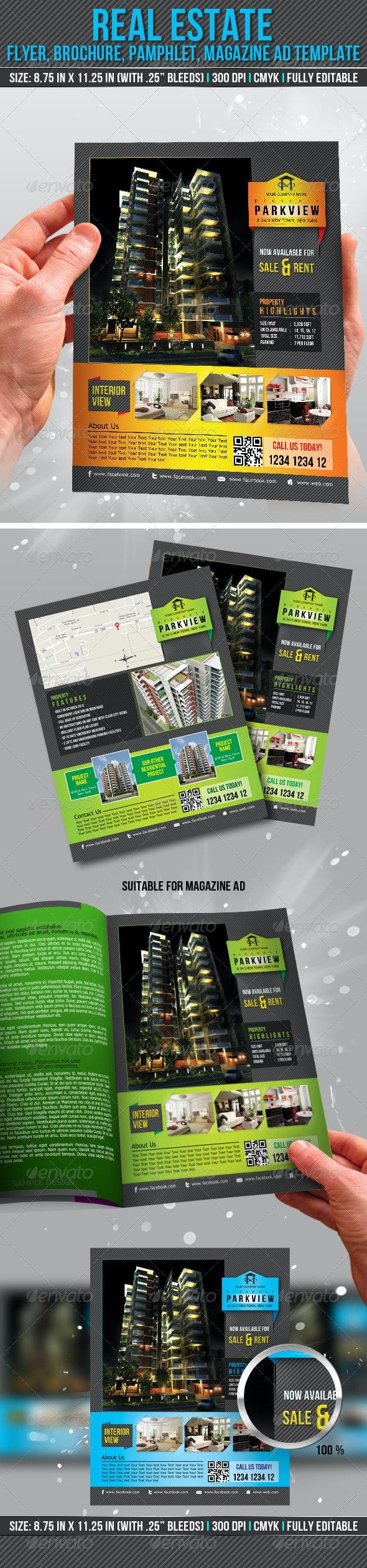Real Estate Flyer, Brochure, Pamphlet, Magazine Ad - Print Templates