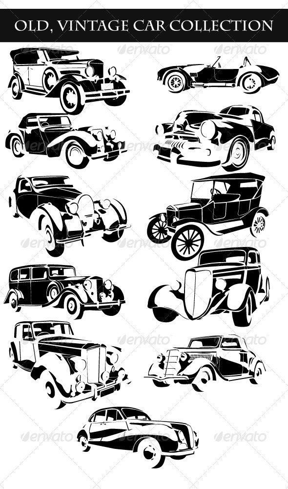 Old Vintage Cars Collection - Organic Objects Objects