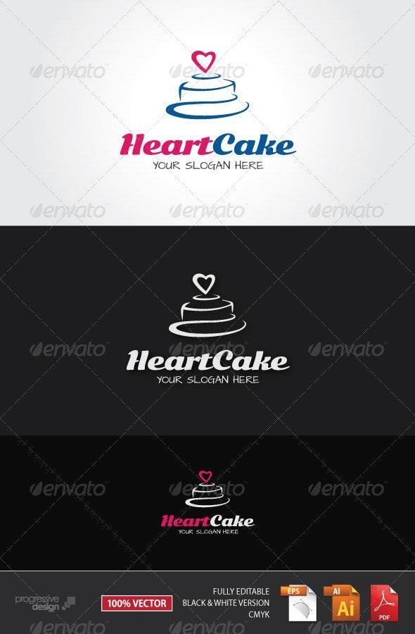 Heart Cake Logo - Food Logo Templates