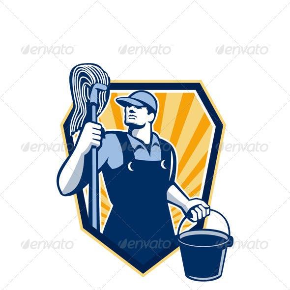 Janitor Holding Mop Bucket Shield Retro