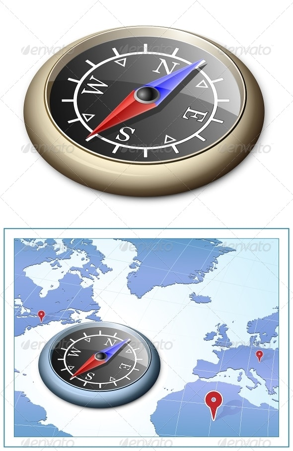 Brass Compass and Map - Objects Vectors