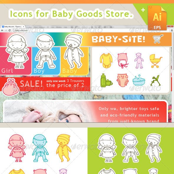 E-commerce Icons for Baby Goods Store