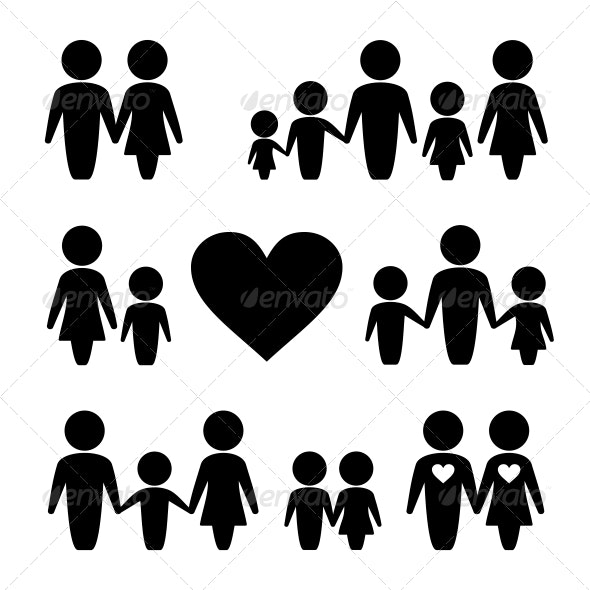 People Family Icons Set - People Characters