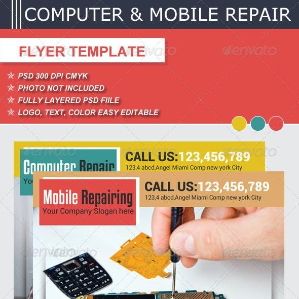 Computer & Mobile Repair  Flyer Template