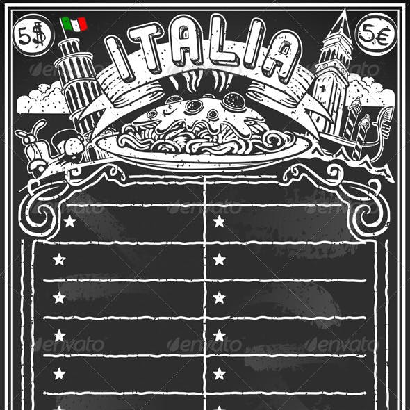 Vintage Blackboard for Italian Menu