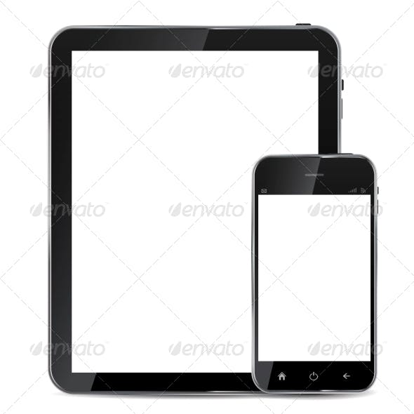Abstract Design Realistic Mobile Phone and Tablet