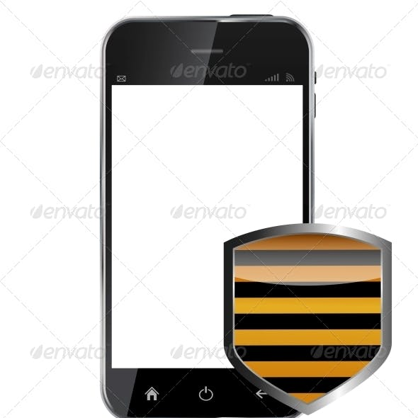 Abstract Design Realistic Mobile Phone with Protection