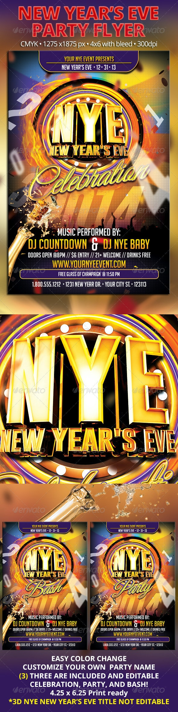 NYE New Year's Eve Part Flyer - Holidays Events