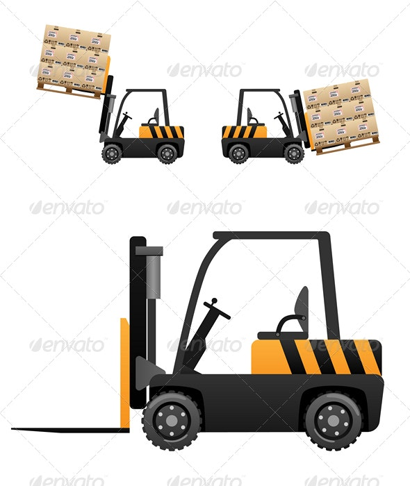 Forklift loader with boxes - Man-made Objects Objects