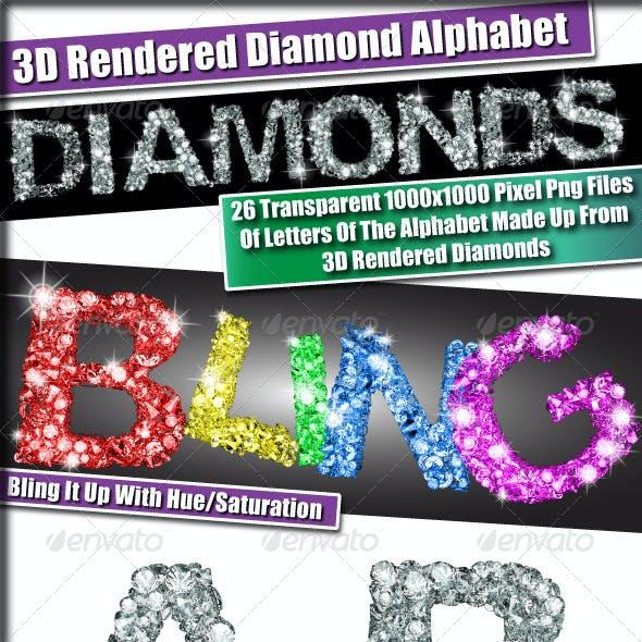 3D Transparent Diamond Alphabet