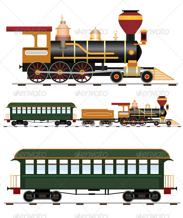 Retro steam train with coach - Man-made Objects Objects