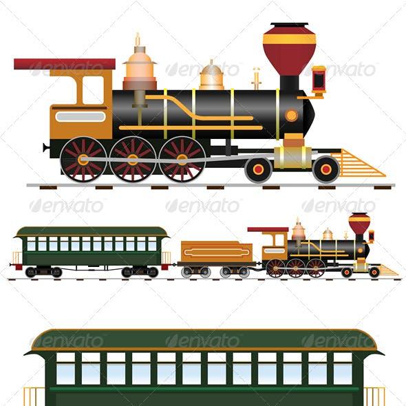 Retro steam train with coach