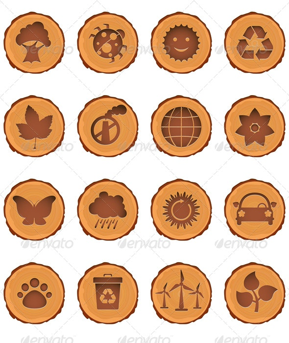 Eco and environment icons set - Decorative Symbols Decorative