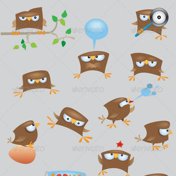 Set of cartoon funny sparrow birds