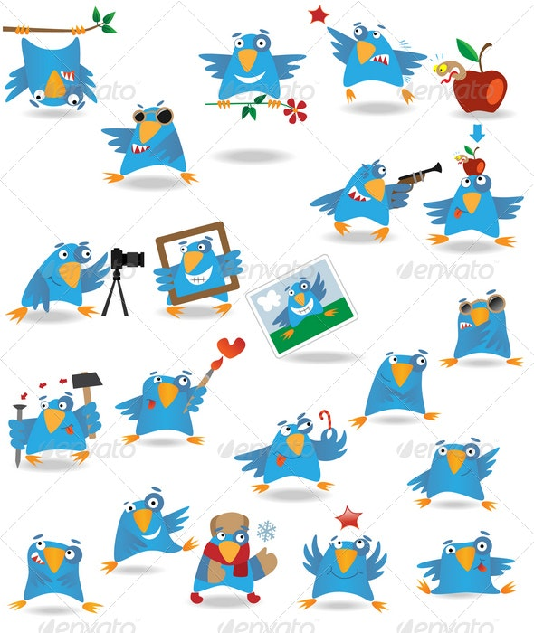 Funny cartoon birds set - Animals Characters