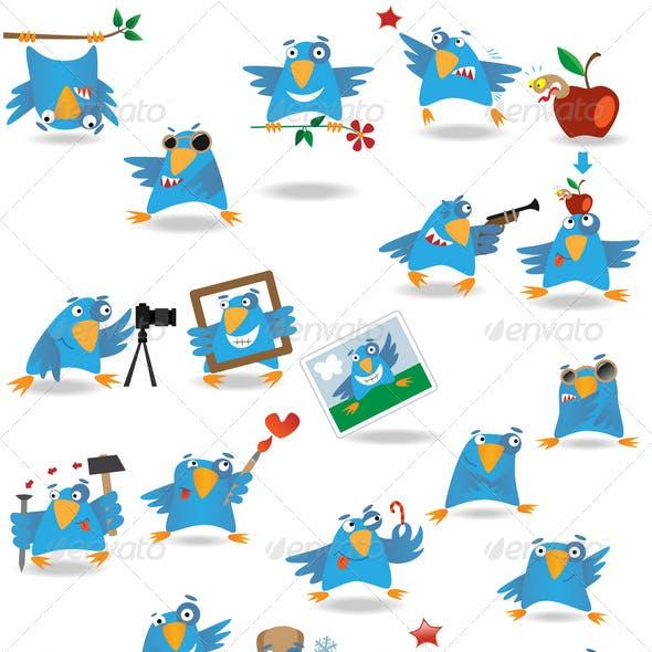 Funny cartoon birds set