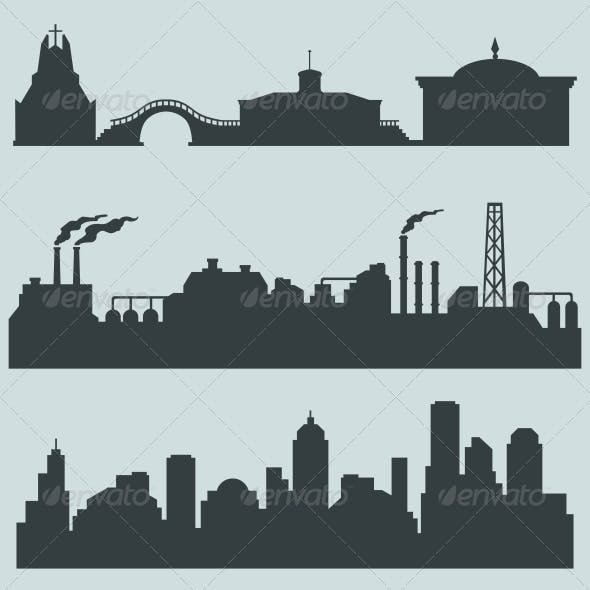 Set of City Silhouettes