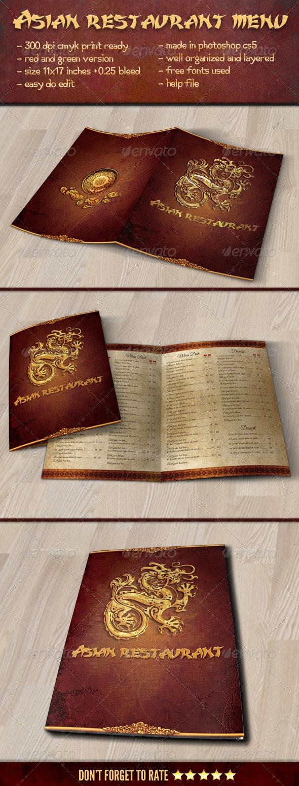 Asian Restaurant Menu Template - Food Menus Print Templates