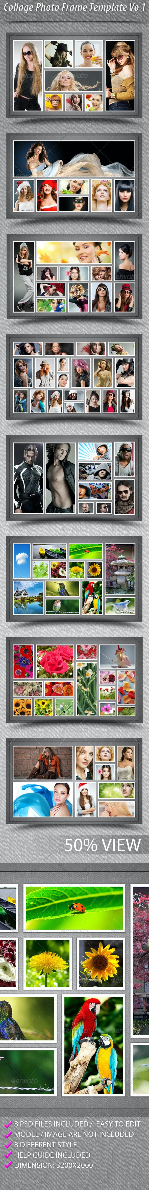 Collage Photo Frame Template Vo 1 - Photo Templates Graphics