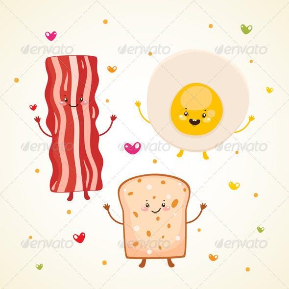 Breakfast Bacon, Fried Egg, Toast