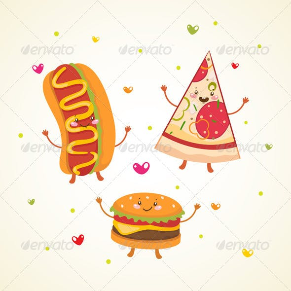 Fast Food, Burger, Hot Dog and Pizza