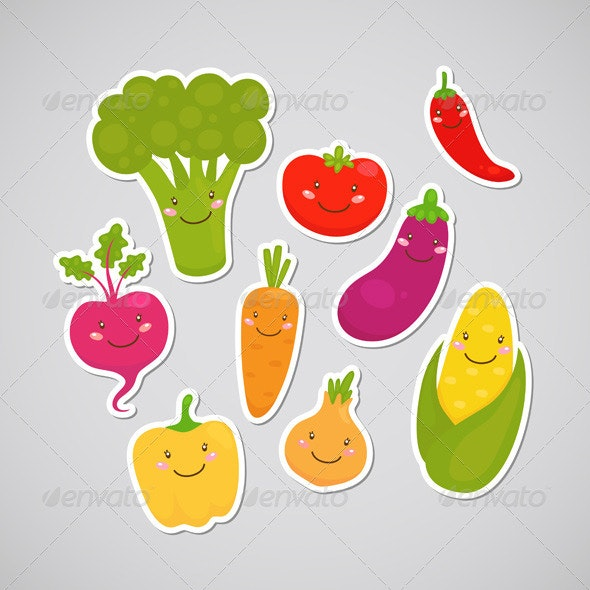 Vegetable Stickers - Food Objects