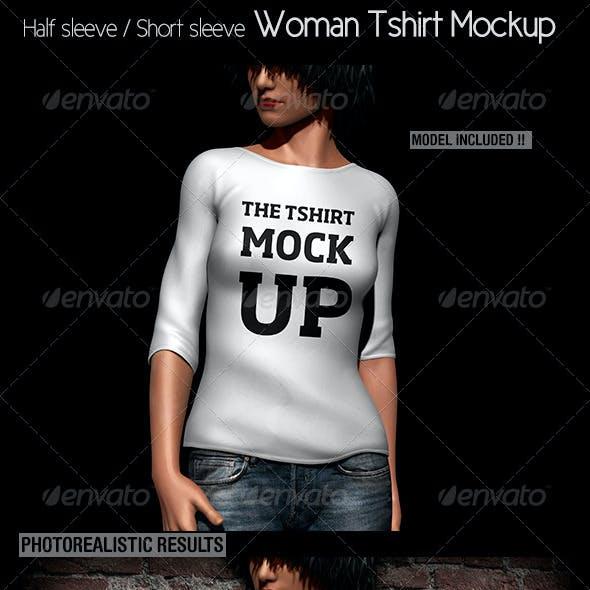 Woman Tshirt Mockup. Half&Short Sleeves