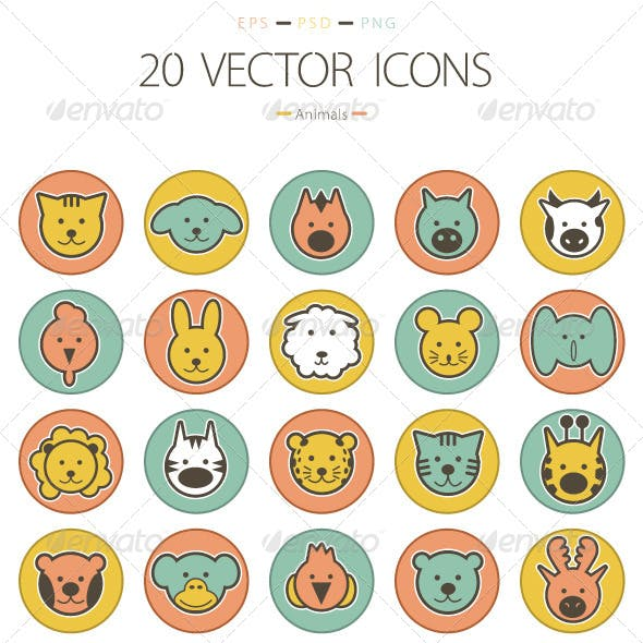 Set of 20 Animals Icons