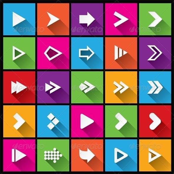 Arrow Sign Icon Set. Simple Square Shape Buttons.