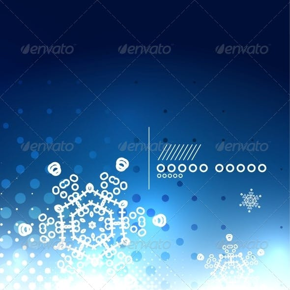 Blue Magic Sky and Snowflakes Winter Background