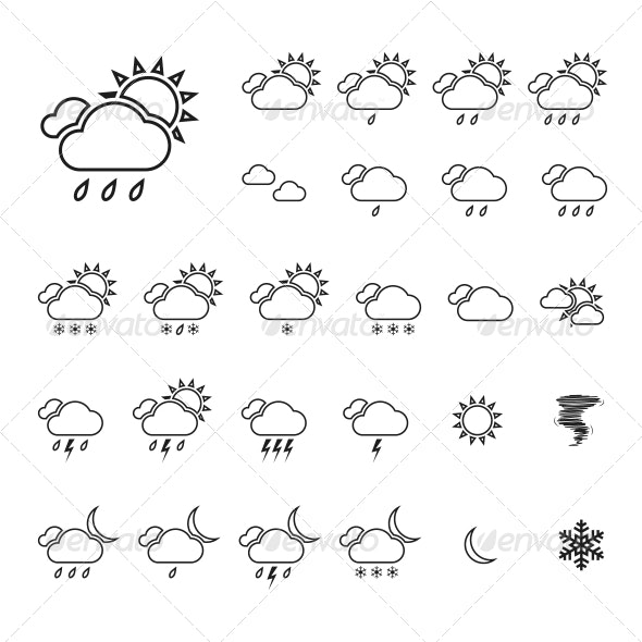 Trendy Thin Weather Icon Set Vector - Web Icons